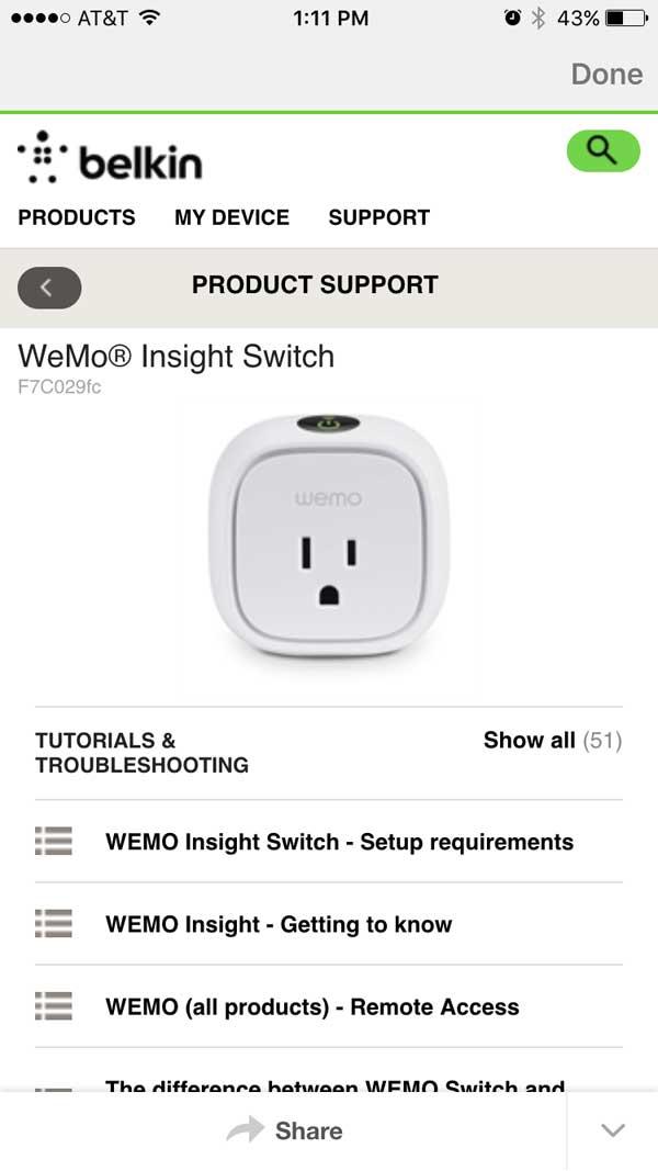 WeMo Insight Help