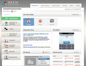 MyNexia.com main screen