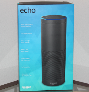 Amazon Echo Box, details a lot of its functionality on the left