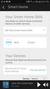Amazon Alexa app, Wink Skill echo