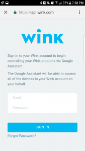 Easily sign in to enable Wink and Google Home to work together.