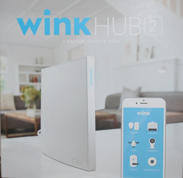 Wink Hub 2 on counter with app