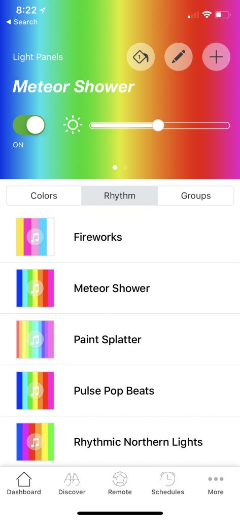 Aurora Nanoleaf Rhythm App Dashboard 1